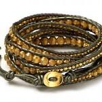Chan Luu Green Leather Wrap Bracelet